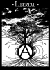 Anarchist Liberty: Growing as High as a Tree and Soaring as Far as a Bird (by Radical Graphics) --- Description: This image came from http://www.RadicalGraphics.org/.Keywords: Circled A, A, Anarchy, Tree, Circle, Birds, Flying, Flight, Sky, Clouds, Libertad, Liberty, Spanish.