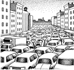 Artwork --- Overrun by a Mob of Consumption-Driven Cars and Trucks (Anti-Car and Anti-Car Culture Directory | Description : This image came from http://www.RadicalGraphics.or... | Tags : Man, Scream, Cars, Automobiles, Truck, Bus, Car, A...) ::: By Radical Graphics (About: All material posted here originally appeared at ht... | Ideals: Anarchy, Animal Liberation, Anti-America, Anti-Bio...)