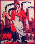 Artwork --- Factory Worker Condemned to Broom and Apron (Workers and Laborers Directory | Description : This image came from http://www.RadicalGraphics.or... | Tags : Factory, Worker, Smoke Stacks, Chimney Stacks, Fac...) ::: By Radical Graphics (About: All material posted here originally appeared at ht... | Ideals: Anarchy, Animal Liberation, Anti-America, Anti-Bio...)