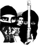 Artwork --- Man and Woman, Masked Revolutionary and Public Activist, We All Work Towards Liberation (Zapatistas and EZLN Directory | Description : This image came from http://www.RadicalGraphics.or... | Tags : Barbed Wire, Gun, Rifle, Mask, Zapatista, Zapatist...) ::: By Radical Graphics (About: All material posted here originally appeared at ht... | Ideals: Anarchy, Animal Liberation, Anti-America, Anti-Bio...)